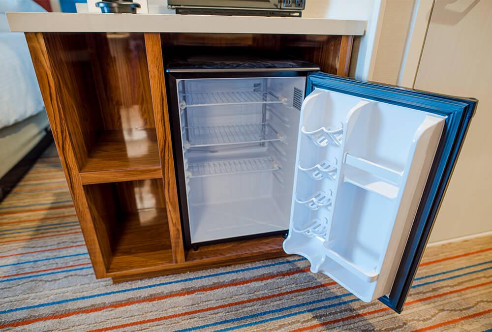 hotel fridge at Howard Johnson Anaheim
