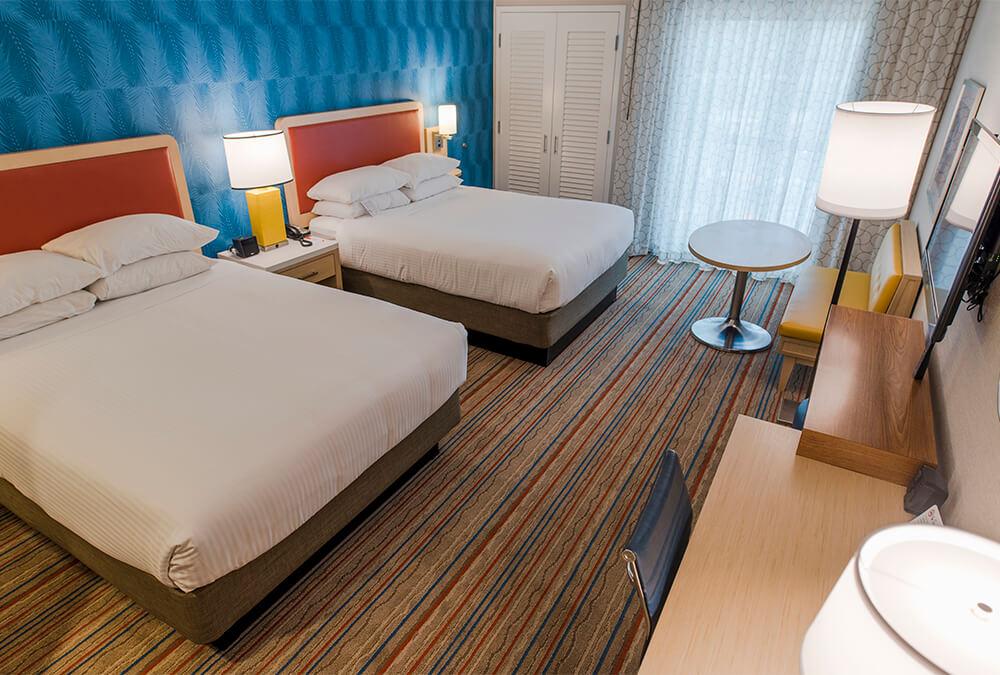 Disney themed hotel room at Howard Johnson Anaheim