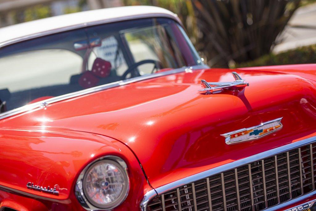 a red retro car
