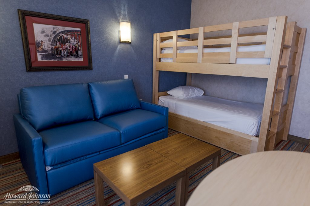 bunk beds pictured inside a hotel room at Howard Johnson Anaheim