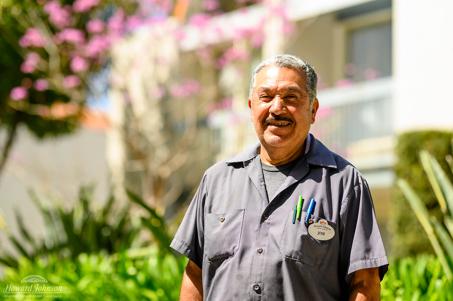 A Howard Johnson Anaheim employee named Jose poses outside the hotel